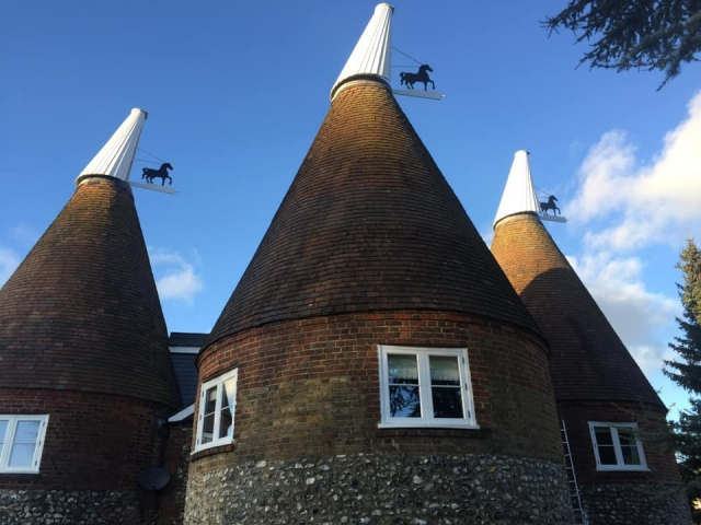 oast cowls with horse motifs