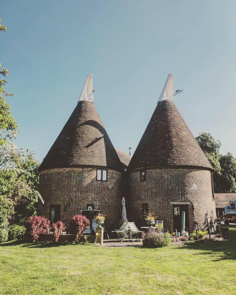 View of two oast houses together