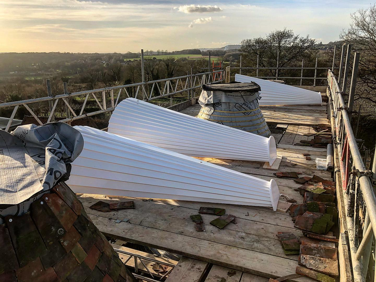 ready oast cowls on a roof