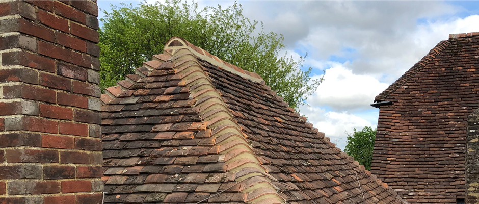Detail of a tiled house roof