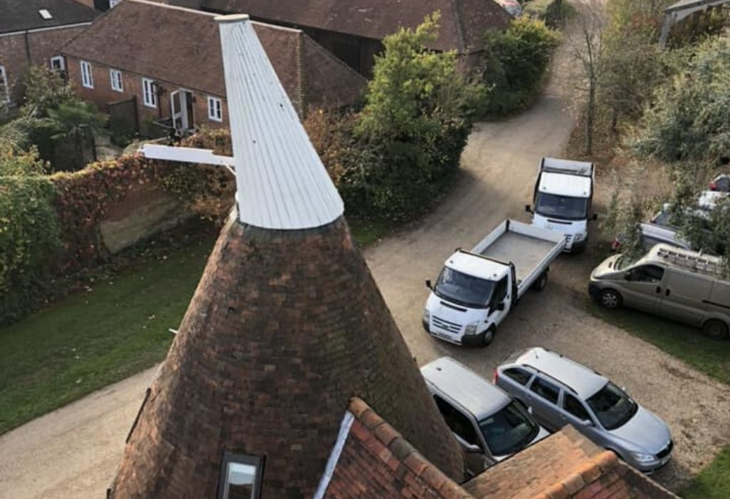 Oast house photo taken from a crane