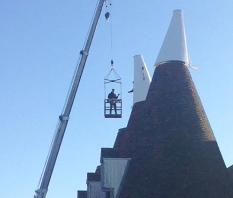 Crane up to the Oast Hop Farm