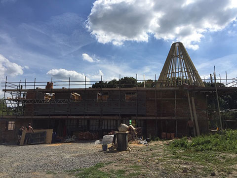 oast house conversion with wooden structure