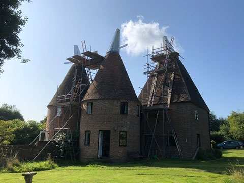 oast houses being repaired