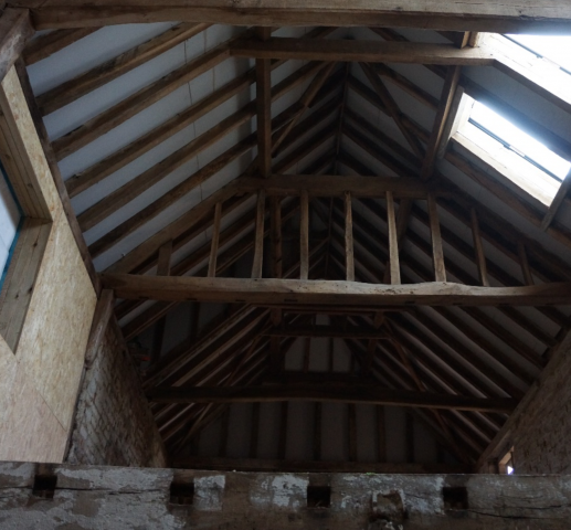 interior view of wooden beams
