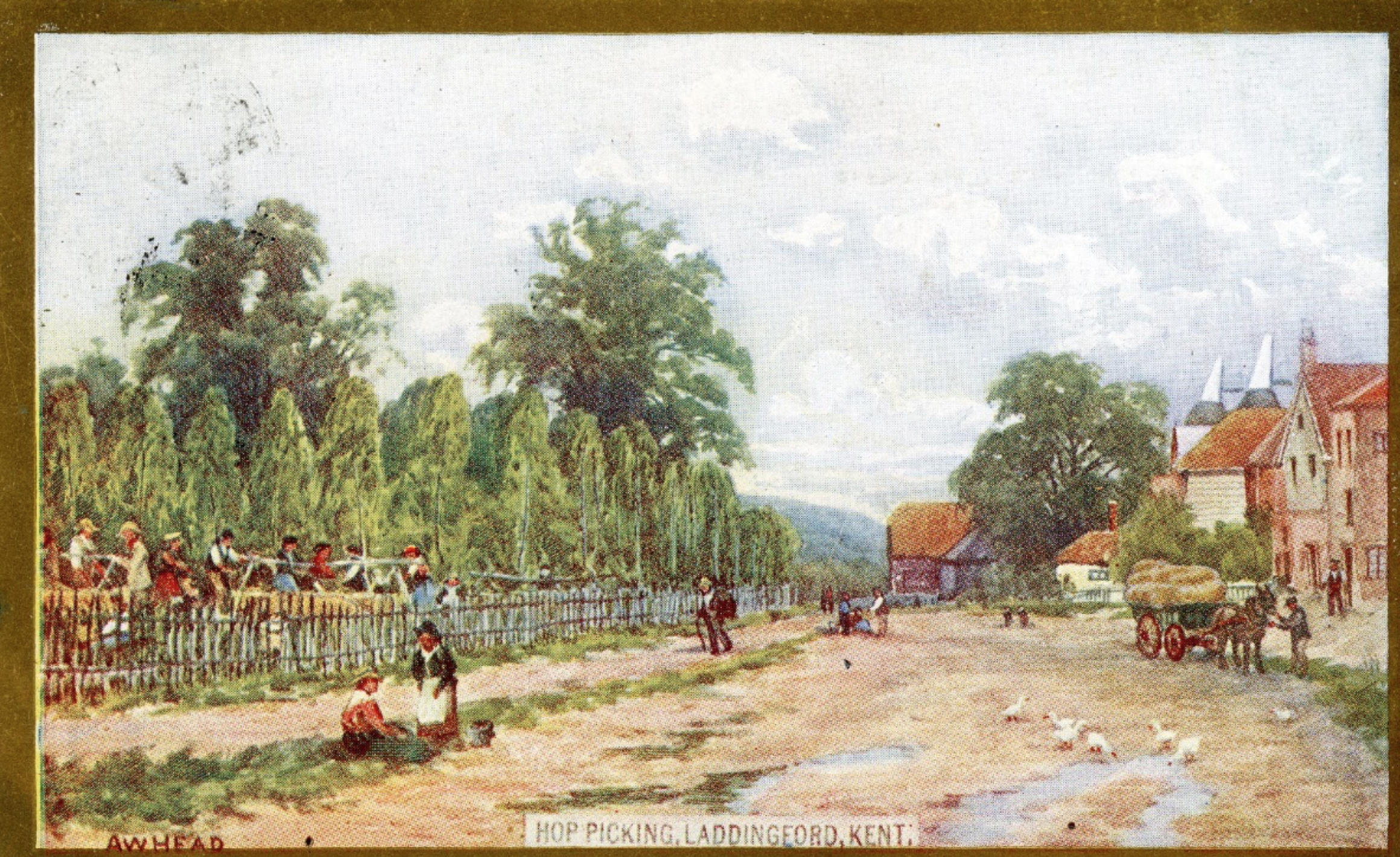 old Postcard of painting by A W Head produced around 1900