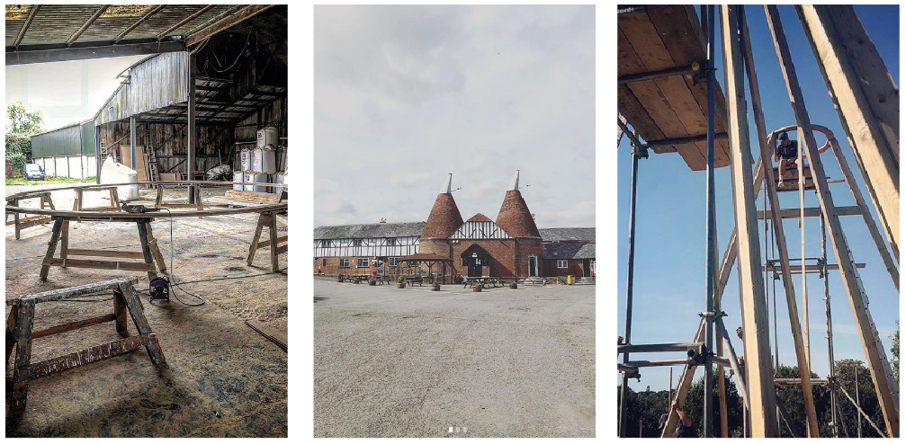 Collage of oast cowl repairing work