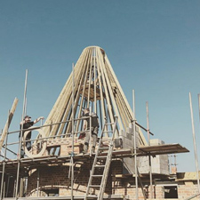 Oast cowl structure being put together